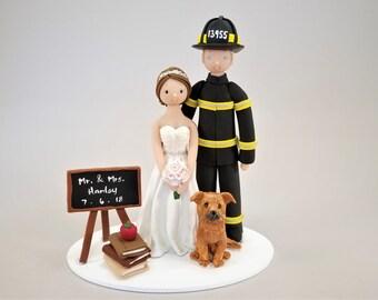 Firefighter & Teacher Customized Wedding Cake Topper by MUDCARDS
