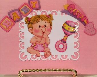 Baby Girl Card. Handmade Baby Girl Cards. Handmade Card. Pop Up Card, Baby Girl Cards. Handmade Baby Card.