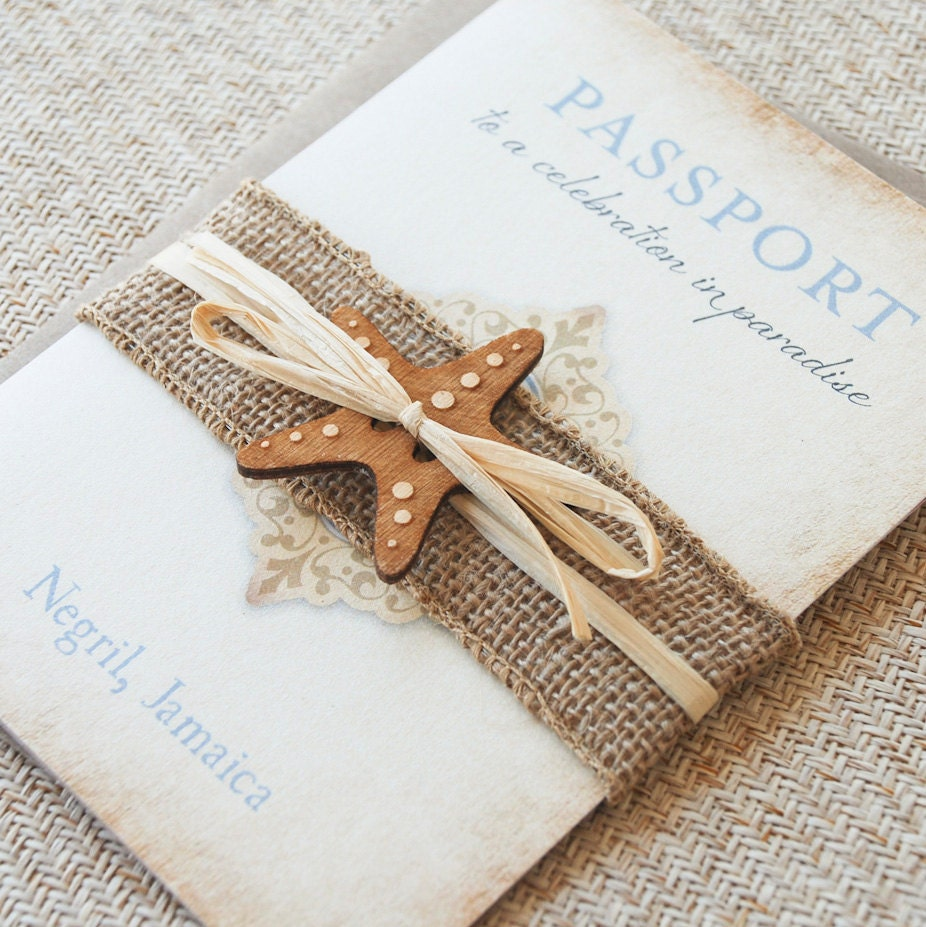 Vintage Passport Wedding Invitation Jamaica Design Fee