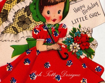 Vintage 1940s Happy Birthday Little Girl Parasol Download Images (298)