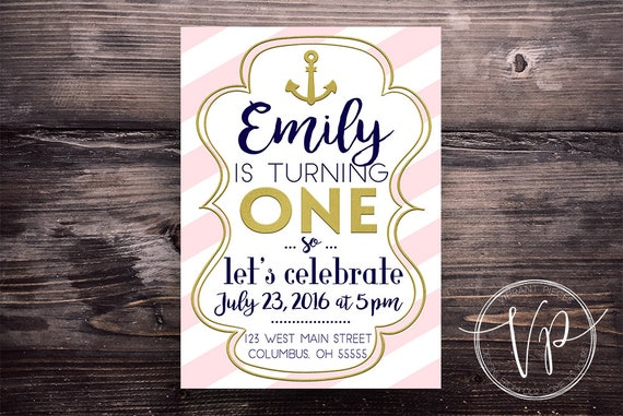 Girls First Birthday Party Invitation Kit Pink Gold And