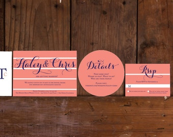 Modern Striped Wedding Invitations,Striped Wedding Invites,Preppy Wedding Invitations,Coral Wedding Invitation,Striped Wedding Invite