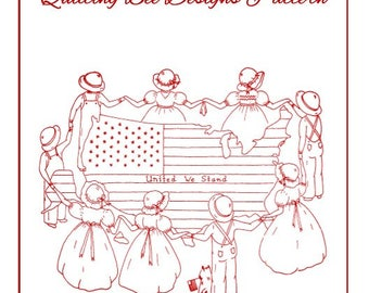United we Stand by Cathy Parker for Quilting Bee Designs - Redwork Embroidery Pattern