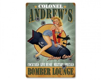 """Personalized Bomber lounge metal sign pin up girl military man cave sign garage decor approx. 16"""" X 24"""""""