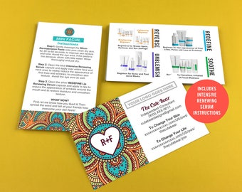 Rodan and Fields Business Cards, Boho Pattern, Give It A Glow, Mini Facial Cards, Instructions, Digital, Printable