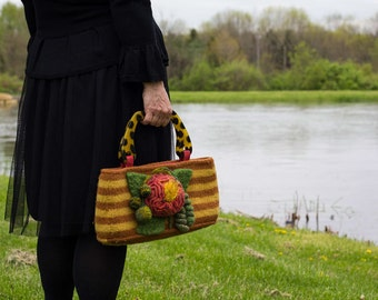 Felted stripped Katie Bag with Felted Flower