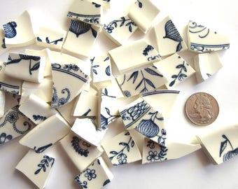 50 Vintage Mosaic Tiles, Vintage Broken China Pieces, Blue and White Tiles, Blue and White China Pieces, Blue and White Mosaic Tiles