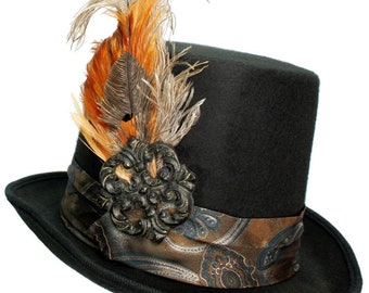 Large Black Felt Top Hat Gypsy Coachman Steampunk Traveler Mens Womens Brown