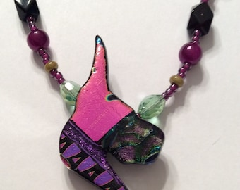 Beaded fused glass pendant--Purple and pink Great Dane fused glass, beaded, pendant.