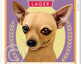 "11x14 Chihuahua Art - ""Little Boss Lager - Pint Sized Perfection"" - Art print by Krista Brooks"