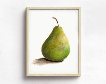 Green Pear Print from Original Watercolor, Kitchen Decor, Home Decor Wall Art, Food Watercolor Art,