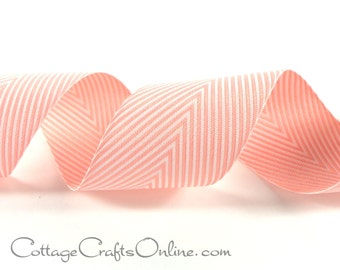 """Chevron Twill Tape, 1 1/2"""" , Pink Striped Ribbon - THREE YARDS - May Arts Pink & White Sewing Trim, Giftwrap and Packaging Ribbon"""