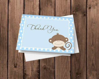 Blue Monkey Thank You Cards | Blue Notecards | Baby Monkey Stationery | Folded Card | Blank Thank You Card