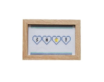 Sh*t profanity framed cross stitch