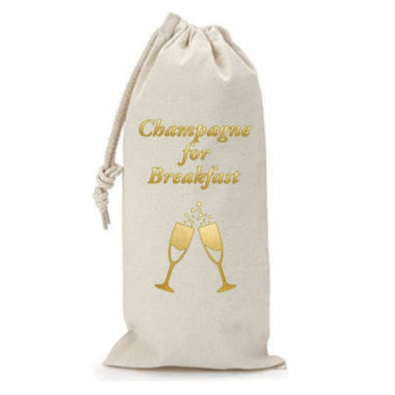 Champagne for Breakfast - Canvas Drawstring Wine Bag: Gold Foil Lettering