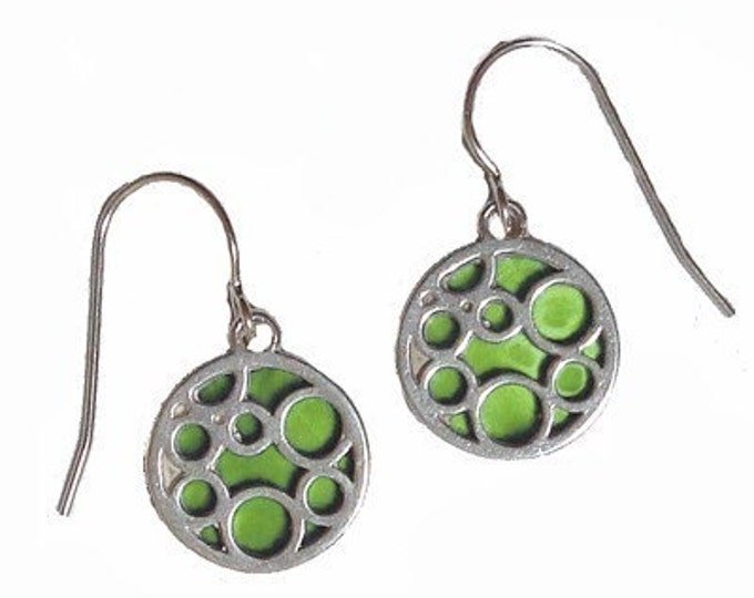 small lime round bubble earrings