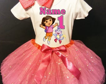 Dora The Explorer***With NAME*** 1st first 1 Birthday Dress Fast Shipping party Shirt and Fuchsia Tutu outfit Personalized