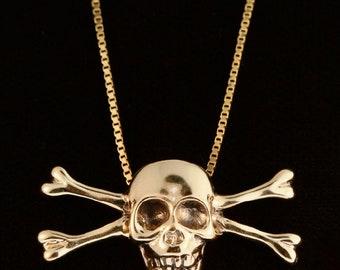 Solid 14k Gold Skull Necklace Skull Crossbone Necklace Large Skull Jewelry Pendant Skull Necklace Large Skull and Crossbone Necklace