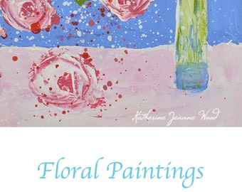 Pink & Blue Floral Art Painting. Cottage Chic Flowers Painting. Palette Knife Art. Kitchen Wall Painting Decor. 126