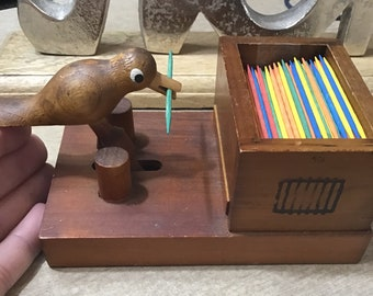 Toothpick Holder, Vintage Wooden Bird, Toothpick Dispenser Toothpick  Grabber, Home Decor, Kitchen