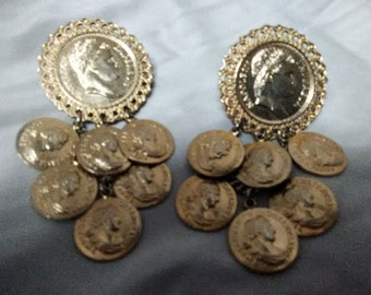 Coin Chandalier style Clip on Earrings