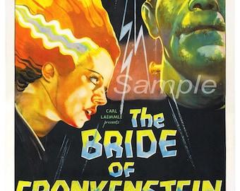 Vintage Bride of Frankenstein Poster Print