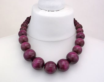 Purple Wooden Bead Necklace | Chunky Purple Necklace | Purple Beaded Necklace