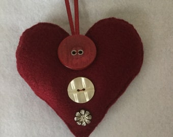 Felt Home or Christmas Decoration - Red Felt Heart with Red, Cream and Silver Button