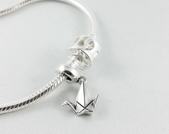 Sterling Silver Origami Paper Crane Pandora Bracelet Charm,Pandora Bracelet,Pandora Charm,Charm Bracelet,First Anniversary Gift for Her