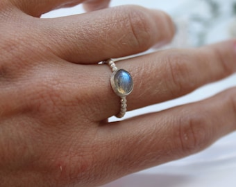 Labradorite Ring Sterling Silver 925 Size 53