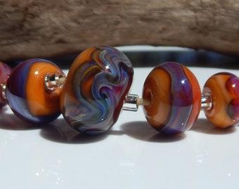 Lampwork Bead Set Organic Abstract Purple Peach Tangerine Orange Pink Green Blue Glass Earring Beads Focal Bead