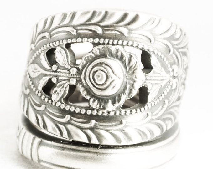 Sterling Silver Rose Spoon Ring in 925, Vintage Statement Piece for Mom, Wild Rose Flower Jewelry, Adjustable Ring Size, Manchester (7058)