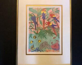 Tropical Parrots Signed Print Framed