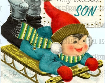 Retro Boy Sledding Christmas Card #228 Digital Download