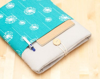 iPad Pro 10.5 case / iPad Pro 9.7 sleeve / iPad cover / iPad air 2 sleeve  padded  - blue dandelion with pockets -