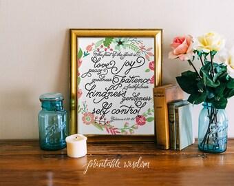 Bible Verse Art Print, Printable Christian scripture art, wall decor fruit of the spirit, fruits Galatians 5, typography INSTANT DOWNLOAD