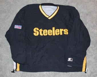 Vintage 90s NFL Pro Line Pittsburgh Steelers Football Starter Brand Mens Size XL or Oversized Womens Long Sleeve Pullover Windbreaker Jacket