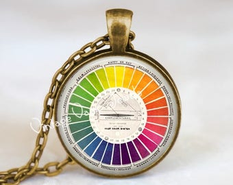 Color Wheel Necklace, Artists Jewelry, Art Teacher Gift, Gift for Art Teacher, Vintage Color Wheel, Glass Bezel Necklace