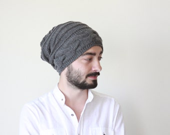 Wanderlust - Winter hat men, Slouchy beanie men, Mens knit hat, Mens wool hat in dark grey - Bonnet homme