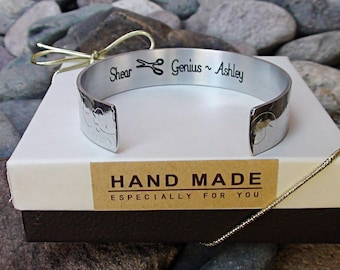 Shear Genius Bracelet Hair Stylist Gift Hairdresser Cuff Bracelet Aluminum  Beautician Jewelry, Personalized Me With Your Message