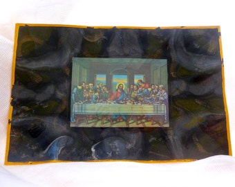 Last Supper 29x14 inch Tray  Handmade Mixed Media Kitsch Religious Art,   Boho Decor, Decoupage, Vintage Decorating, Wall Hanging