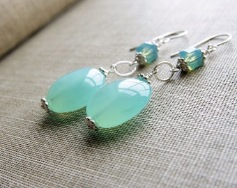 Aqua Chalcedony Earrings Long Dangle Gemstone Swarovski Crystal Sterling Silver Blue Seafoam Mint Bridesmaid Wedding Bride Jewelry