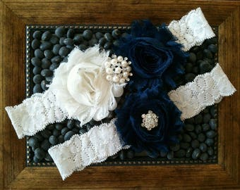 Wedding garter, Bridal Garter Set - Navy & Ivory Flower on an OFF WHITE Lace Garter Set