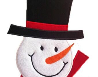 Snowman Face Applique - Machine Embroidery Design file  (001)