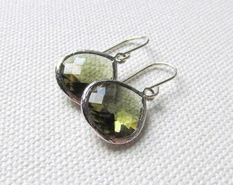 Olive Green Earrings Faceted Dangle Earrings Modern Silver Green Drop Earrings, Bridal, Minimalist