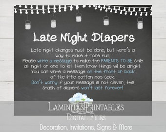 Baby shower games, Late night diapers, Baby shower games printable, mason jar, vintage baby shower, Game Cards, Baby shower decorations