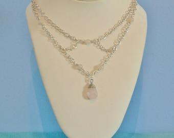 Rose Quartz Sterling Silver Choker Statement Necklace