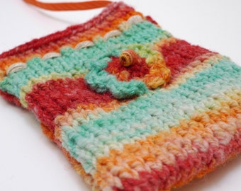 Knitted pouch, cross body pouch bag, zipped bag, wool bag.