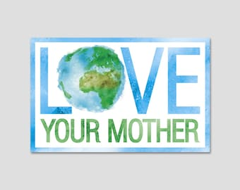 """Love Your Mother Earth Watercolor Bumper Sticker Decal 5"""""""