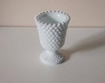 Ancient milk glass vase - Hobnail pattern